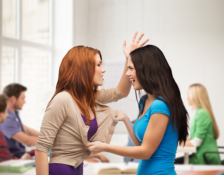 bullying, school, education,friendship and people concept - two teenagers having a fight and getting physical